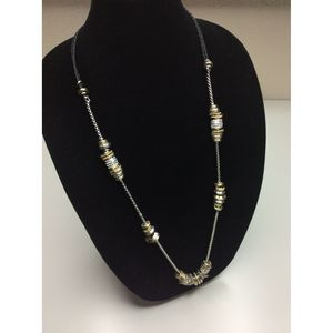 Chico's Leather Cord Silver Gold Chain Necklace